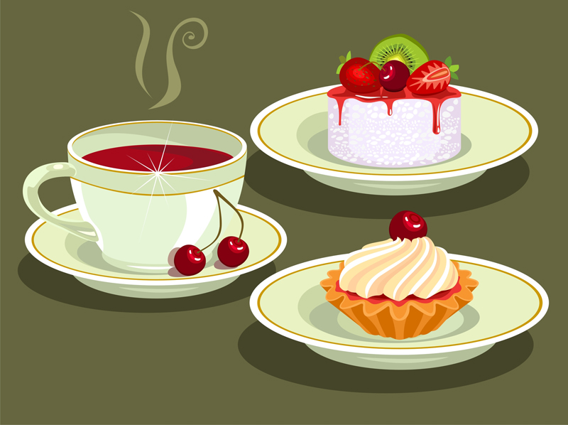 Tea and Cake cartoon